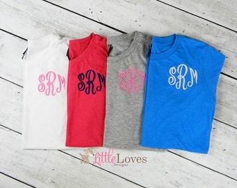 Monogrammed T Shirt- Womans Monogrammed Shirt- Embroidered Shirt
