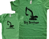 Big Brother Shirt / Little Brother Matching Shirt Set - Brothers T Shirt Gift Set - Baby Shower / New Baby Present - Digger Backhoe Back hoe
