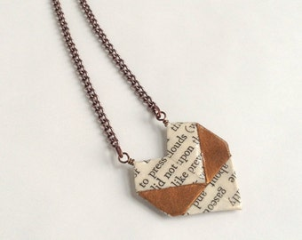 Sweetheart Literary Origami Paper Heart Necklace // Bronze Book Lover's Necklace