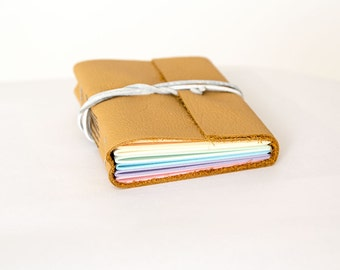 "3x4"" Leather journal, rainbow pages, travel journal, travel notebook, leather diary sketchbook, leather notebook, blank book, hand bound"