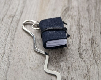 Miniature book bookmark, recycled leather bookmark, mini book charm, book mark, book jewelry for teacher librarian book lover reader