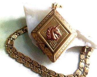 Unicorn Locket Vintage Necklace