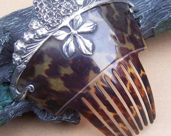 Victorian hair comb faux tortoiseshell with silver overlay Hair Accessory Hair Slide Hair Pin Hair Pick Antique Comb