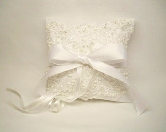 White Lace and White Satin Ring Bearer Pillow,Personalized Alencon Lace Wedding Pillow, Ring Pillow,Ring Bearer Pillows