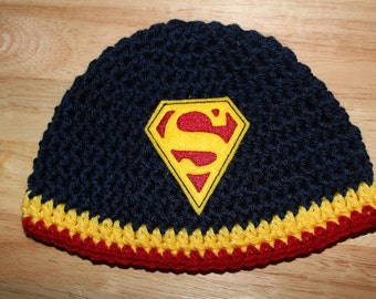 Superman Hat, Newborn Baby Hat - Red Beanie with Superman Symbol - Newborn Hat - Crochet Baby Hat - Ready to Ship