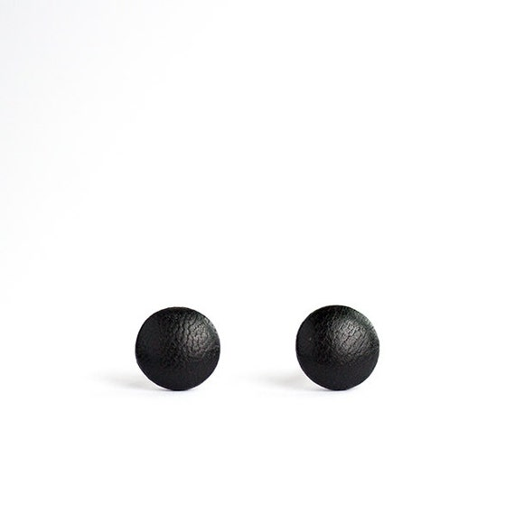 Black stud earrings for men Black studs Small by HappyUsefulThings