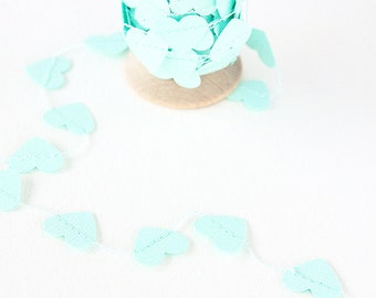 Aqua Mint Heart Paper Garland and Trim - 9 ft
