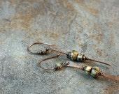 Copper urban tribal stick earrings