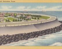 Seawall at Galveston, Texas- 1940s Vintage Postcard- Souvenir View- State Landmark- Paper Ephemera