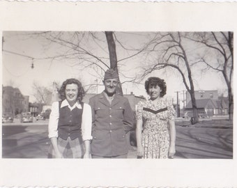 Soldier Pal- Old Photo- 1940s Vintage Photograph- Girls Flirting with Military Man- City Park- Friends Snapshot- WW2 Picture- Paper Ephemera