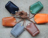 Hand Stitched Light Brown Leather phone Case/ Small Pouch