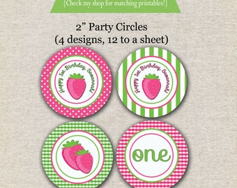 Strawberry Shortcake inspired party circles, cupcake toppers, stickers, labels, printable, digital, etc.