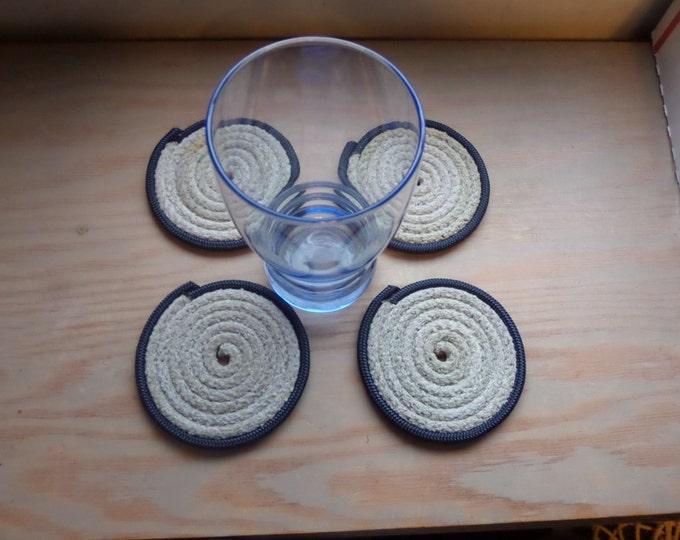 Coasters Set of 4 Gray Rope with Navy Trim Nautical RE-PURPOSED RECYCLED Rope Alaska