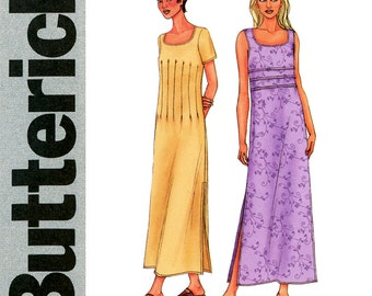 Maxi Dress Pattern Uncut Bust 31 to 34 Butterick 3511 Scoop Neck Dress with Midriff Tucks Day or Evening Sleeveless Womens Sewing Patterns