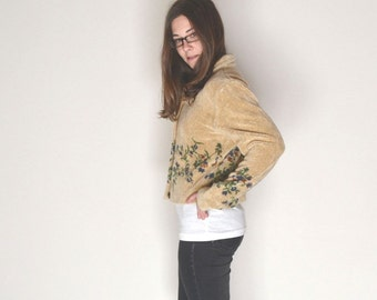 Cropped Fleece Jacket Early 90s Vintage Folk Beige Floral Print Fuzzy Winter Coat Small Medium
