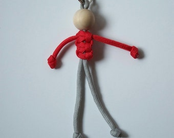 550 Paracord Person Key Fob, Red and Grey, Geocaching Swag, Small Gift