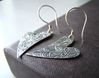 Hearts - embossed   silver tone heart shape earrings with sterling silver ear wires
