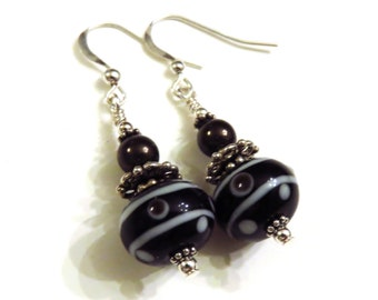 Black & Brown Lampwork Earrings, Swarovski Pearls, Black Earrings, Brown Earrings, Brown Pearl Earrings, Dangle Earrings, Sterling Silver