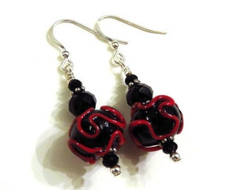 Black & Red Lampwork Earrings With Black Swarovski Crystals, Red Earrings, Black Earrings, Black Lampwork Earrings, Lampwork Jewelry
