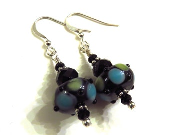 Blue Green & Black Lampwork Earrings With Black Swarovski Crystals