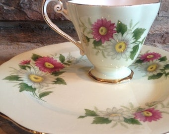 Royal Standard Teacup & Plate Green Daisies Yellow and Pink Daisy Fine Bone China Vintage Tea Cup Set - #3675