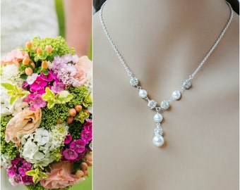 Pearl Y Necklace, Pearl Bridal Jewelry, Pearl Bride Necklace, Bride Wedding Necklace, Swarovski Pearl Necklace, Pearl Rhinestone Necklace