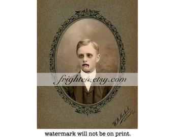 Halloween Wall Art, Zombie Art, Victorian Boy, Mixed Media Collage, Collage Print, Halloween Decor, Creepy Art, Haunting Portrait