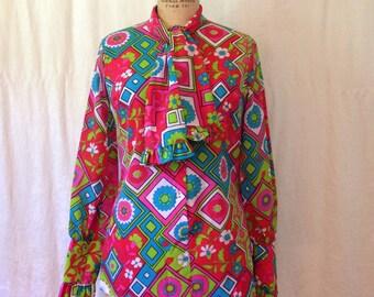 Day Glow Edwardian - Style Blouse / 1970s / medium - large