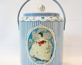 Vintage Storage Tin with Handle STRIPES England