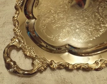 """THEODORE B. STARR 24"""" footed platter Wedding Silver Plated Serving Large Platter,Party Tray,Home Decor,Silver on copper,Antique,banquet Gift"""
