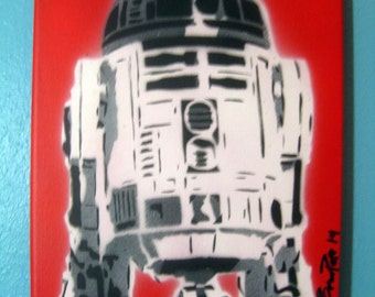 R2D2 Bright Red Grayscale Painting- Hand Cut Stencils by Popes with Paint - Star Wars Lovers