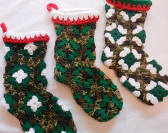 Christmas Stocking ONE Camo Green Custom Granny Square Crochet Stockings