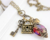 Key to my heart Cluster Charm Necklace