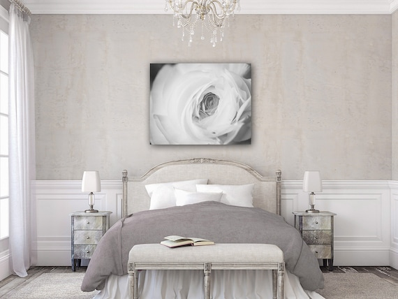 Elegant Black And White Canvas Art For Bedroom By