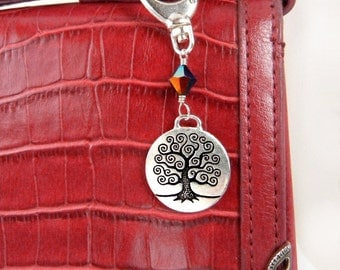 Tree of Life charm for handbag, key chain, backpack, or belt loop ornament // clip-on charm