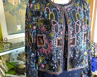 Vintage beaded Embroidered wedding jacket multicolored flapper wedding great gatsby coat