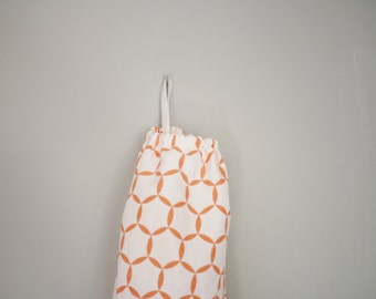 Plastic bag holder, for storing plastic bags, recycling in the eco-kitchen, upcycled kitchen decor, peach geometric fabric