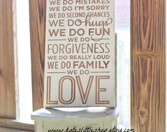 Beautiful HAND PAINTED Family Rules Wooden Sign. Rustic Home Decor. subway art. Shabby Chic Blue. Wood Sign. Christmas Gift. Rustic. Home.