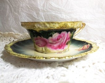 Antique RS Prussia Teacup Handpainted Cup and Saucer Reinhold Schlegelmilch Germany