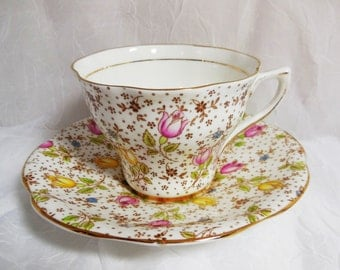 Vintage Rosina June Floral Teacup & Saucer - English Bone China