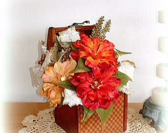 Decorated Box Centerpiece Hand Crafted Faux Forals Woven Wood Handcrafted Year Around Use Open Lid  Red Orange Asters  Ivory Gold Leaves