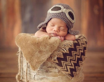 Newborn photo prop, Newborn pilot aviator hat, newborn boy, newborn girl, newborn, newborn hat, baby knit hat, photo props,newborn knit hat