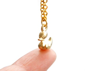 Tiny Gold Duck Necklace - Simple Everyday Necklace