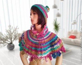 INSTANT DOWNLOAD Capelet Beanie Flower Edging with optional Pom Pom  -  Crochet Pattern