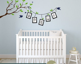 Tree Branch Wall Decal with Leaves and Birds - Living Room - Bedroom - Nursery Wall Decor Vinyl Sticker- WD0354