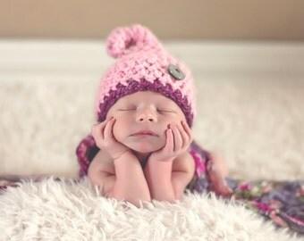 Baby Pixie Hat-Crochet Pink or Brown Elf/Pixie Hat-Great Newborn Photo Prop