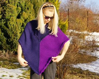 Blue and purple violet Kashmir knitted with a cabled edge 100% wool poncho