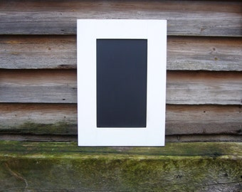 White Kitchen Chalkboard - Blackboard Memoboard - Shopping List - Noteboard UK - Rustic White Decor - Framed Chalkboard - Wooden Wall Decor