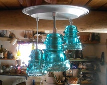 The Original Authentic Insulator Light - Pendant lighting or Chandelier lighting hanging lighting Insulator Custom lighting Antique pendant