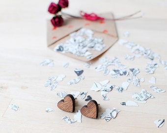 Wooden Heart Earrings | Valentines Present | Nickel Free